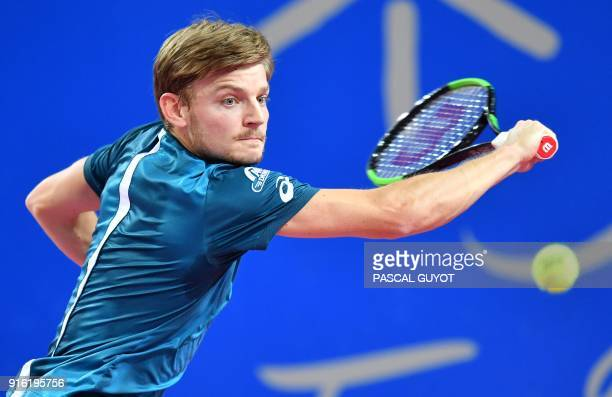 David Goffin from Belgium returns the ball to Karen Khachanov from Russia during their tennis match at the Open Sud de France ATP World Tour in...