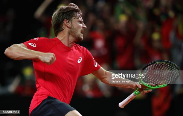 David Goffin of Belgium celebrates breaking Nick Kyrgios of Australia in the fourth set during day three of the Davis Cup World Group semi final...