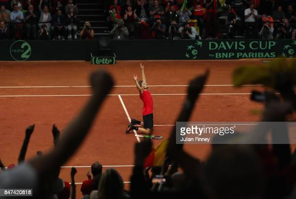 David Goffin of Belgium celebrates defeating John Millman of Australia in four sets during day one of the Davis Cup World Group semi final match...