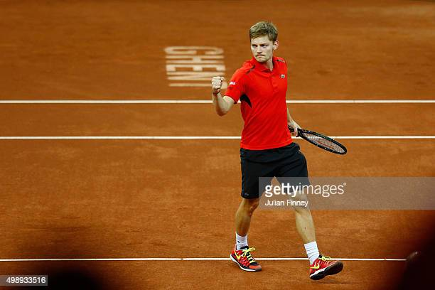 David Goffin of Belgium celebrates during the singles match against Kyle Edmund of Great Britain on day one of the Davis Cup Final 2015 at Flanders...