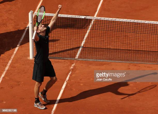 David Goffin of Belgium celebrates his victory during Day Seven of the 2018 French Open at Roland Garros on June 2, 2018 in Paris, France.