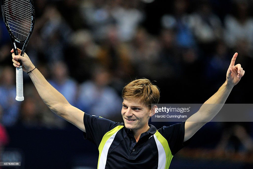 David Goffin of Belgium celebrates his victory during the Swiss Indoors ATP 500 tennis tournament semi-final match against Borna Coric of Croatia at St Jakobshalle on October 25, 2014 in Basel, Switzerland.