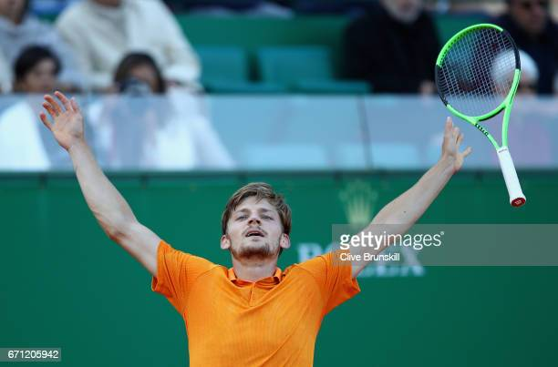 David Goffin of Belgium celebrates match point against Novak Djokovic of Serbia in their quarter final round match on day six of the Monte Carlo...