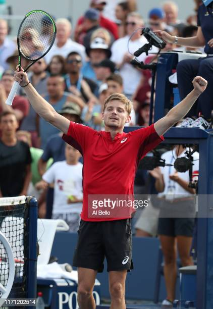 David Goffin of Belgium celebrates victory following his Men's Singles third round match against Pablo Cuevas of Uruguay on day five of the 2019 US...
