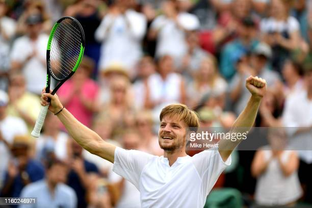David Goffin of Belgium celebrates victory in his Men's Singles third round match against Daniil Medvedev of Russia during Day five of The...