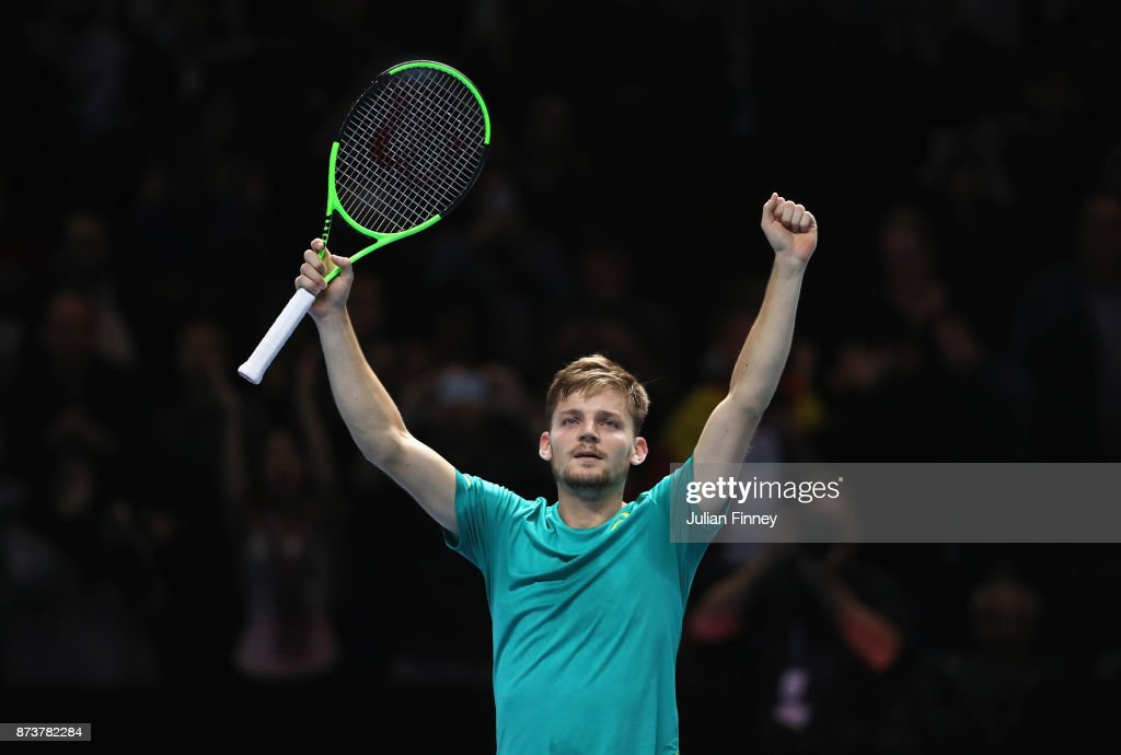 David Goffin of Belgium celebrates victory in his Singles match against Rafael Nadal of Spain during day two of the Nitto ATP World Tour Finals at O2 Arena on November 13, 2017 in London, England.