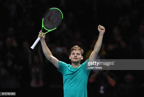 David Goffin of Belgium celebrates victory in his Singles match against Rafael Nadal of Spain during day two of the Nitto ATP World Tour Finals at O2...
