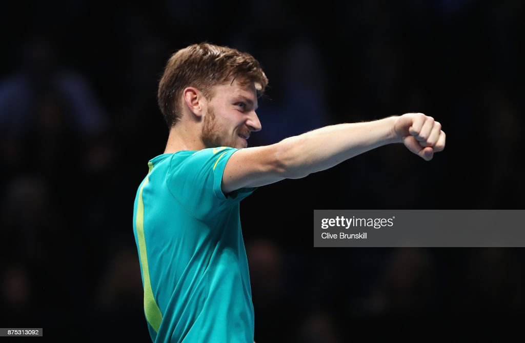 David Goffin of Belgium celebrates victory in his Singles match against Dominic Thiem of Austria during day six of the Nitto ATP World Tour Finals at O2 Arena on November 17, 2017 in London, England.