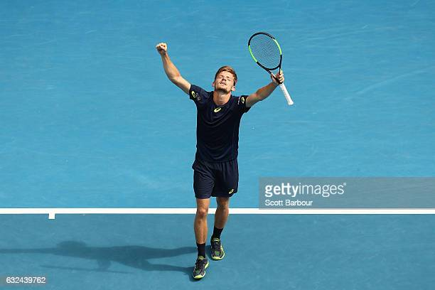 David Goffin of Belgium celebrates winning his fourth round match against Dominic Thiem of Austria on day eight of the 2017 Australian Open at...