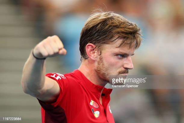 David Goffin of Belgium celebrates winning match point during his Group C singles match against Radu Albot of Moldova during day one of the 2020 ATP...