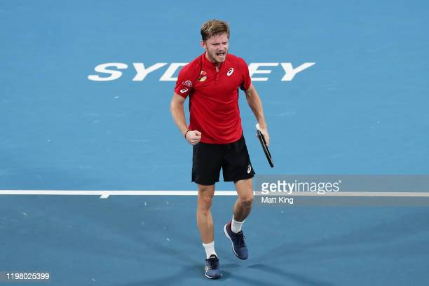 David Goffin of Belgium celebrates winning match point during his Group C singles match against Grigor Dimitrov of Bulgaria during day five of the...
