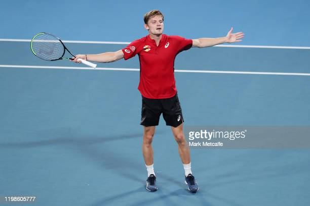 David Goffin of Belgium celebrates winning match point during his quarter final singles match against Rafael Nadal of Spain during day eight of the...