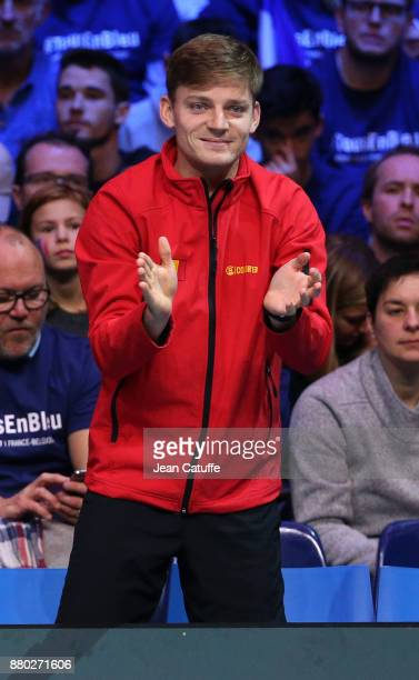David Goffin of Belgium during the doubles match on day 2 of the Davis Cup World Group final between France and Belgium at Stade Pierre Mauroy on...
