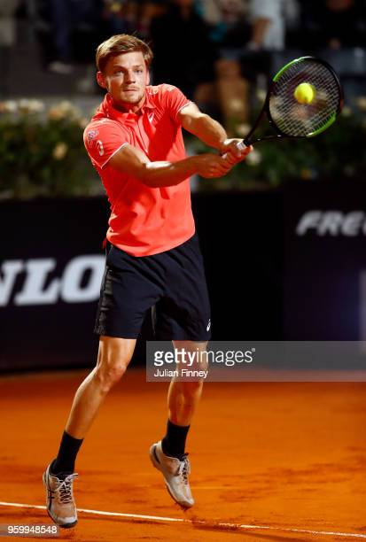 David Goffin of Belgium in action against Alexander Zverev of Germany during day six of the Internazionali BNL d'Italia 2018 tennis at Foro Italico...