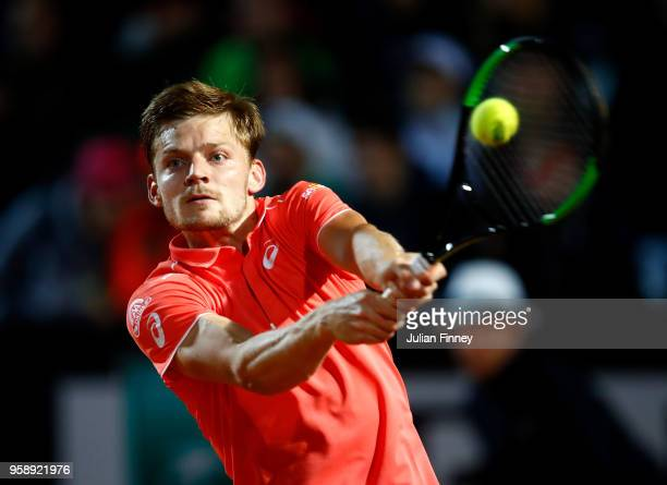 David Goffin of Belgium in action against Marco Cecchinato of Italy during day three of the Internazionali BNL d'Italia 2018 tennis at Foro Italico...