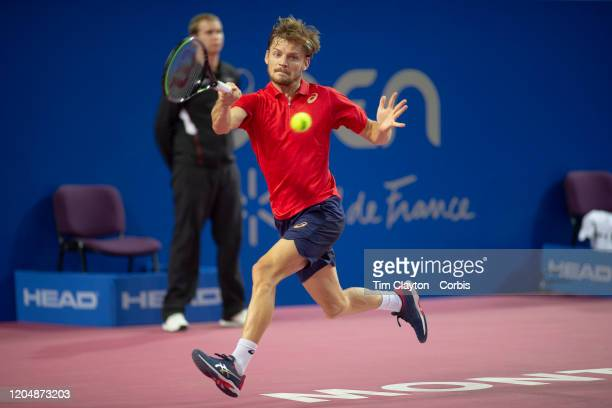 David Goffin of Belgium in action against Vasek Pospisil of Canada in the Semi Finals of the Open Sud de France Tennis Tournament at the Sud de...