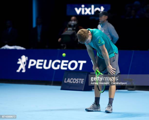 David Goffin of Belgium in action during his defeat by Grigor Dimitrov of Bulgaria in their Group Pete Sampras match today Dimitrov def Goffin 60 62...