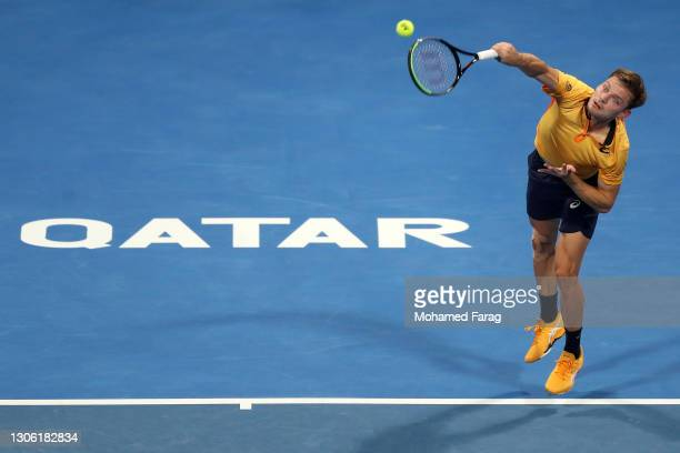 David Goffin of Belgium in action during his round one match against Filip Krajinovic of Serbia during Day 2 of the Qatar ExxonMobil Open 2021 at...