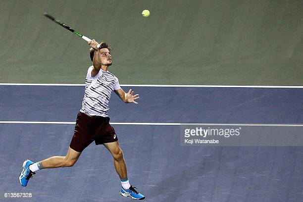 David Goffin of Belgium in action during men's singles final match against Nick Kyrgios of Australia on day seven of Rakuten Open 2016 at Ariake...