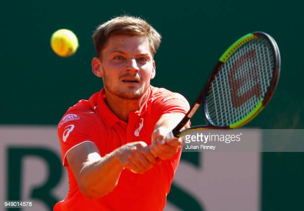 David Goffin of Belgium in action in his singles match against Grigor Dimitrov of Bulgaria during say six of ATP Masters Series Monte Carlo Rolex...
