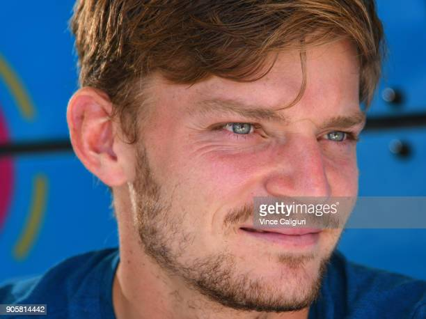 David Goffin of Belgium is seen posing for photos at Autograph Island on day three of the 2018 Australian Open at Melbourne Park on January 17 2018...