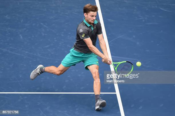 David Goffin of Belgium plays a backhand against Feliciano Lopez of Spain during day three of the Rakuten Open at Ariake Coliseum on October 4 2017...
