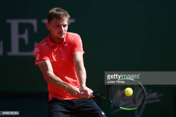 David Goffin of Belgium plays a backhand during his men's singles match against Roberto Bautista Agut of Spain on day five of the Rolex MonteCarlo...