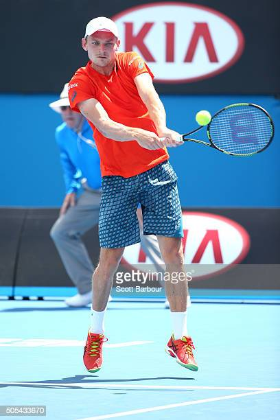David Goffin of Belgium plays a backhand in his first round match against Sergiy Stakhovsky of Ukraine during day one of the 2016 Australian Open at...