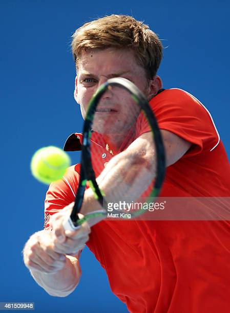 David Goffin of Belgium plays a backhand in his match against Simone Bolelli of Italy during day four of the 2015 Sydney International at Sydney...