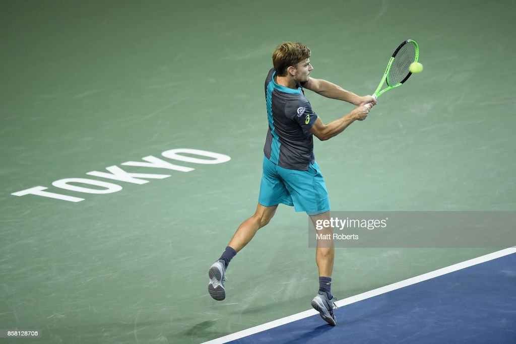 David Goffin of Belgium plays a backhand in his quarterfinal match against Richard Gasquet of France during day five of the Rakuten Open at Ariake Coliseum on October 6, 2017 in Tokyo, Japan.
