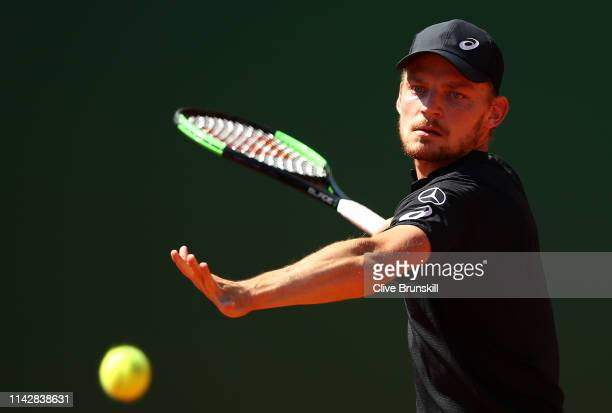 David Goffin of Belgium plays a forehand against Guido Andreozzi of Argentina in their first round match during day two of the Rolex Monte-Carlo...