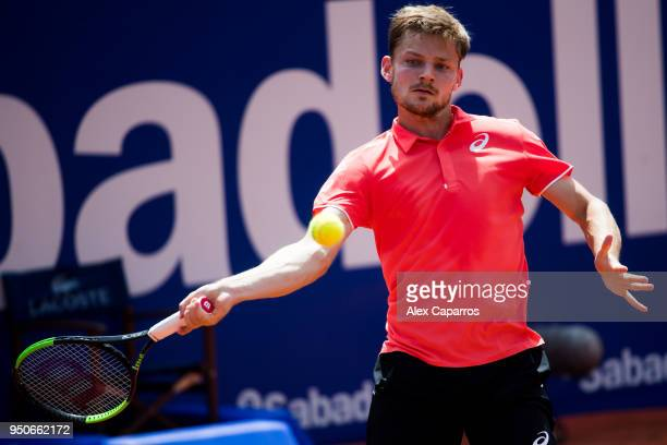 David Goffin of Belgium plays a forehand against Marcel Granollers of Spain in their match during day three of the Barcelona Open Banc Sabadell on...