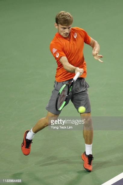 David Goffin of Belgium plays a forehand against Marin Cilic of Croatia in the first round of the Eisenhower Cup a Tie Break Tens event on Day 2 of...