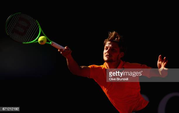 David Goffin of Belgium plays a forehand against Novak Djokovic of Serbia in their quarter final round match on day six of the Monte Carlo Rolex...