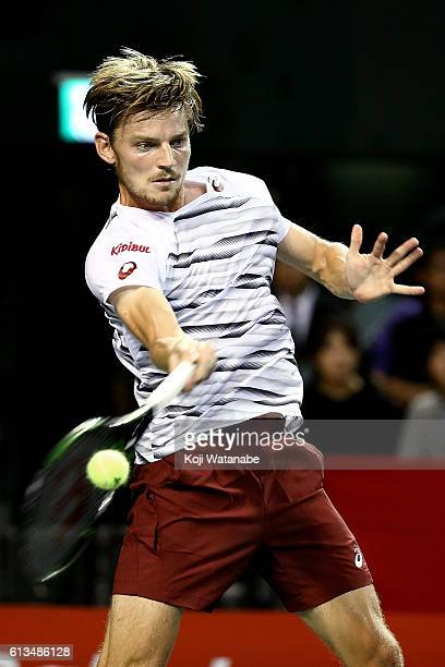 David Goffin of Belgium plays a forehand during the men's singles final match against Nick Kyrgios of Australia on day seven of Rakuten Open 2016 at...