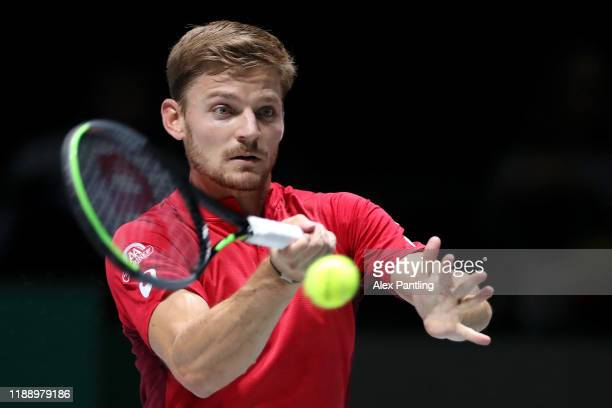 David Goffin of Belgium plays a forehand in his Davis Cup Group Stage match against Alex De Minaur of Australia during Day Three of the 2019 David...