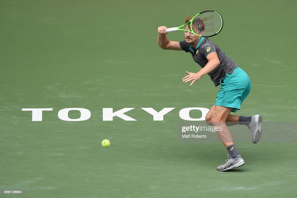 David Goffin of Belgium plays a forehand in his quarterfinal match against Richard Gasquet of France during day five of the Rakuten Open at Ariake Coliseum on October 6, 2017 in Tokyo, Japan.