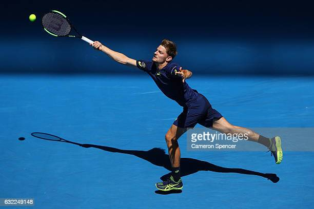 David Goffin of Belgium plays a forehand in his third round match against Ivo Karlovic of Croatia on day six of the 2017 Australian Open at Melbourne...