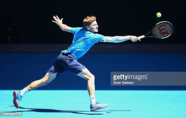 David Goffin of Belgium plays a shot during a practice session ahead of the 2019 Australian Open at Melbourne Park on January 09, 2019 in Melbourne,...