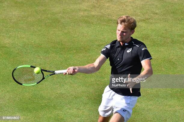 David Goffin of Belgium plays against Spain's Feliciano Lopez during the first singles match on day two of Fever Tree Championships at Queen's Club...