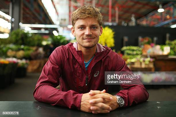 David Goffin of Belgium poses during a visit to Prahran Market during day six of the 2016 Australian Open at Melbourne Park on January 23, 2016 in...