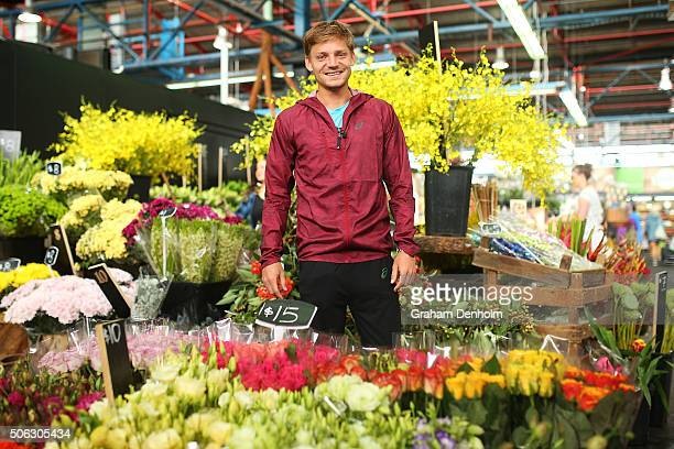 David Goffin of Belgium poses during a visit to Prahran Market during day six of the 2016 Australian Open at Melbourne Park on January 23 2016 in...