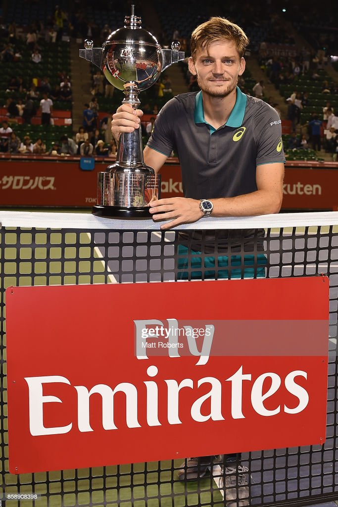 David Goffin of Belgium poses with the winners trophy after his men's final match against Adrian Mannarino of France during day seven of the Rakuten Open at Ariake Coliseum on October 8, 2017 in Tokyo, Japan.