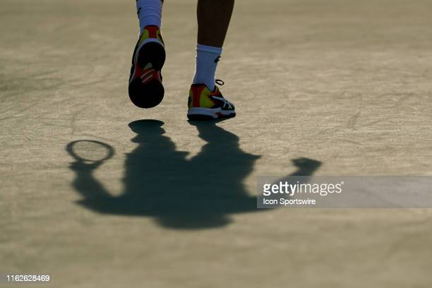 David Goffin of Belgium prepares to return serve during the final match of the Western & Southern Open at Lindner Family Tennis Center on August 18,...