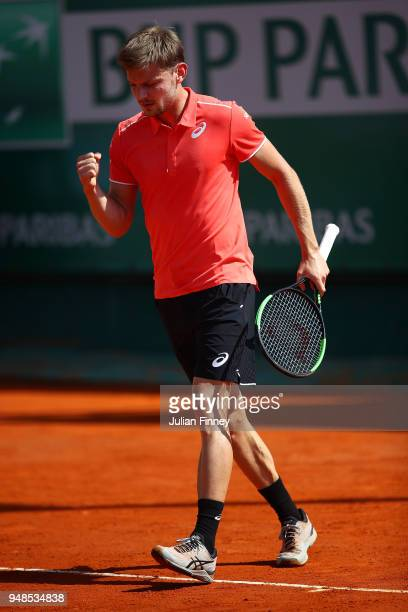 David Goffin of Belgium reacts after a point during his men's singles match against Roberto Bautista Agut of Spain on day five of the Rolex...