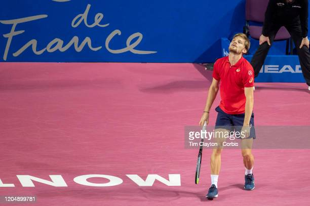 David Goffin of Belgium reacts during his loss to Vasek Pospisil of Canada in the Semi Finals of the Open Sud de France Tennis Tournament at the Sud...