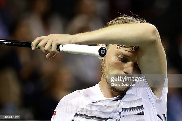 David Goffin of Belgium reacts during the men's singles final match against Nick Kyrgios of Australia on day seven of Rakuten Open 2016 at Ariake...