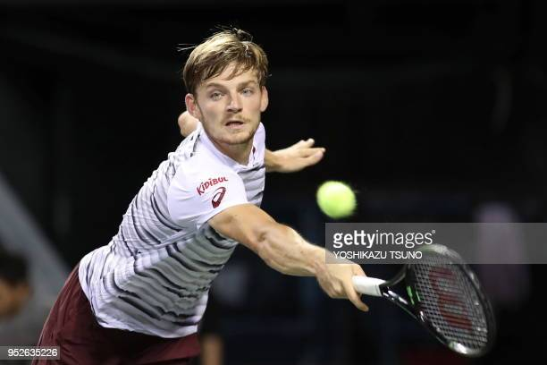 David Goffin of Belgium returns the ball in the final of the Rakuten Japan Open tennis championships in Tokyo on October 9 2016 Kyrgios defeated...