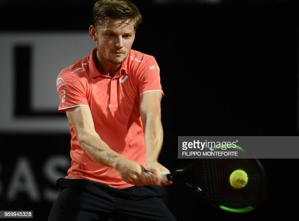 David Goffin of Belgium returns the ball to Alexander Zverev of Germany during the ATP Tennis Open tournament in Rome at the Foro Italico on May 18...