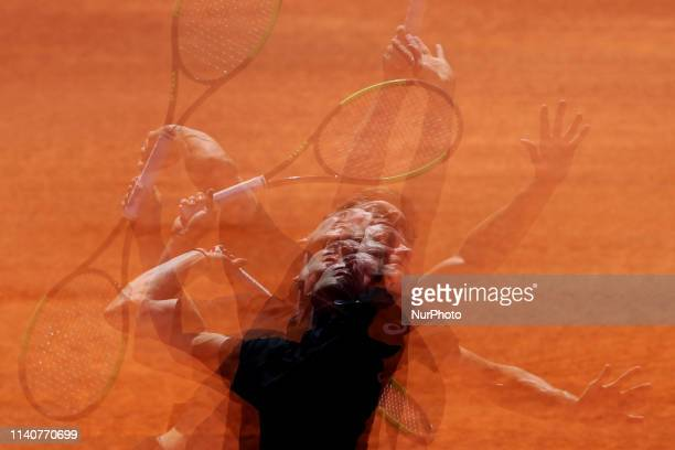 David Goffin of Belgium serves a ball to Joao Sousa of Portugal during the Millennium Estoril Open Day 4 ATP 250 tennis tournament at the Clube de...